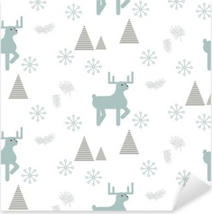 Reindeer in a snowy woods seamless vector pattern. Scandinavian style white and blue pastel background. Pixerstick Sticker