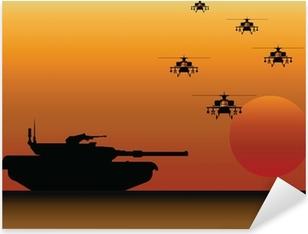 Sticker Pixerstick Réservoir et d'hélicoptères militaires
