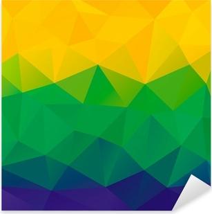 Sticker Pixerstick Résumé de fond de polygone. Brésil couleurs du drapeau. Vector.