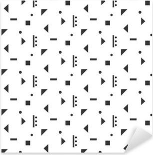 Sticker Pixerstick Résumé des formes géométriques blanc seamless pattern. géométrie Vintage inspiré gris transparent sur blanc.