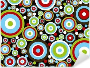 Sticker Pixerstick Rétro électriques cercles rouges bleu vert brun sur