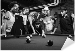 retro group trying to distract man as he takes pool shot. Pixerstick Sticker