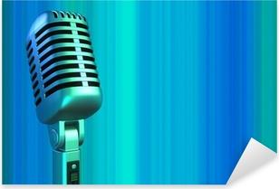 retro microphone in blue light Pixerstick Sticker