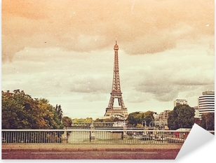 retro photo with paris, france, vintage Pixerstick Sticker