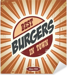 Sticker Pixerstick Rétro signe de burger, modèle d'affiche de cru