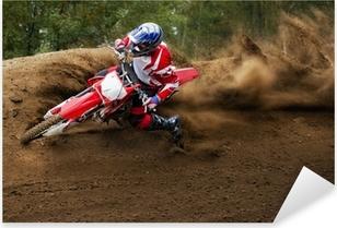 Sticker Pixerstick Rider conduite dans la course de motocross