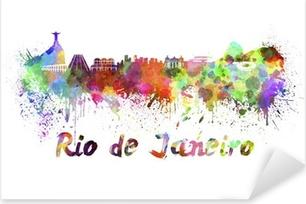Sticker Pixerstick Rio de Janeiro horizon à l'aquarelle