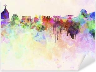 Pixerstick Sticker Rio de Janeiro skyline in aquarel achtergrond