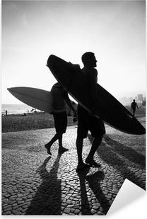 Rio Surfboard Sunset Surfers Arpoador Brazil Pixerstick Sticker