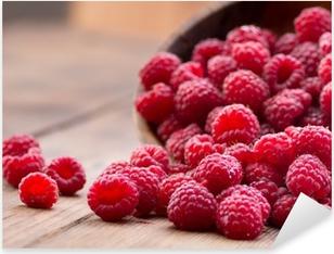 Ripe red raspberries Pixerstick Sticker