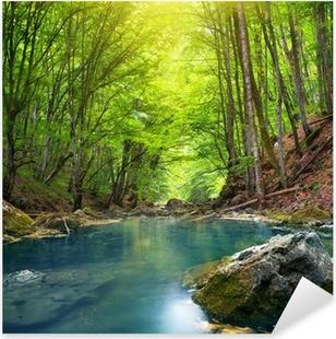 River in mountain forest. Pixerstick Sticker