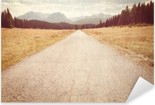 Road towards the mountains - Vintage image Pixerstick Sticker