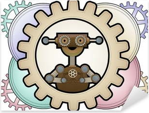 Sticker Pixerstick Robot de Steampunk l'intérieur engrenages colorés détenant engrenages