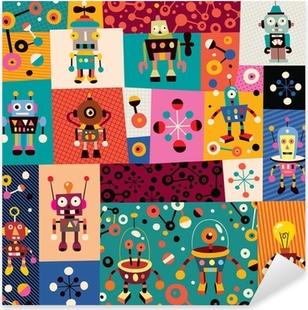 robots pattern Pixerstick Sticker