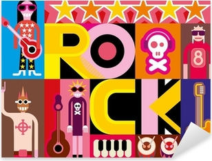 Rock and Roll Pixerstick Sticker