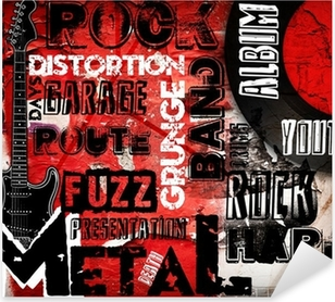 Pixerstick Sticker Rock Music poster op rode muur