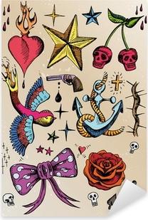 rockabilly tattoo vorlagen farbig Pixerstick Sticker