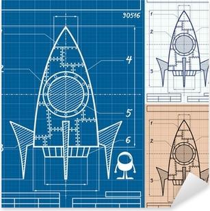 Rocket Blueprint Cartoon Pixerstick Sticker