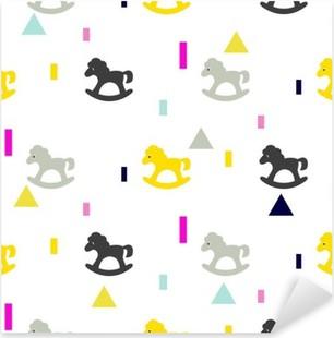 Sticker Pixerstick Rocking cheval gris, modèle d'enfant rose et jaune. Bébé cheval toy vecteur seamless pour l'impression de tissus et les vêtements.
