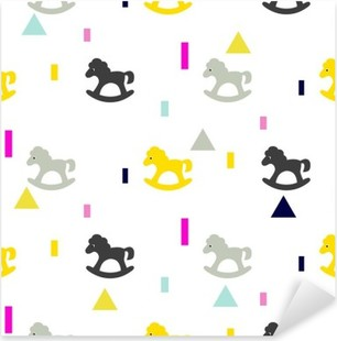 Rocking horse gray, pink and yellow kid pattern. Baby horse toy vector seamless pattern for fabric print and apparel. Pixerstick Sticker