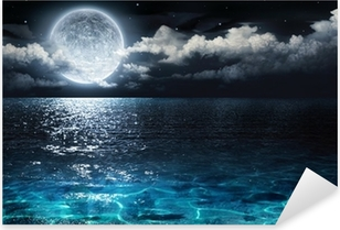 romantic and scenic panorama with full moon on sea to night Pixerstick Sticker