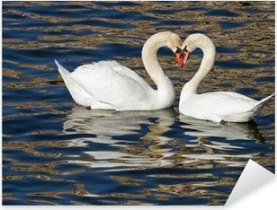Romantic swans in spring. Pixerstick Sticker