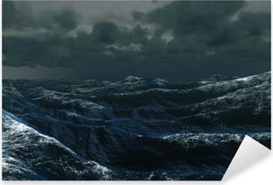Rough blue ocean under dark sky Pixerstick Sticker
