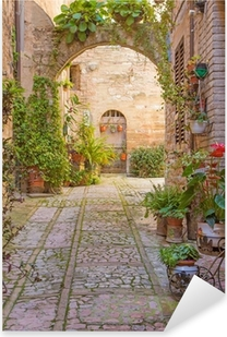 Sticker Pixerstick Rue avec arc en pierre décorée avec des plantes (Spello)