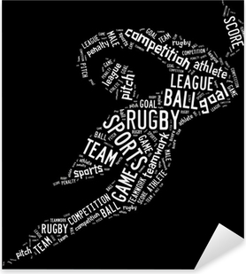 rugby football pictogram with white wordings Pixerstick Sticker