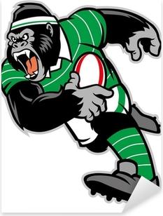 rugby gorilla mascot Pixerstick Sticker