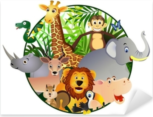 Safari cartoon Pixerstick Sticker