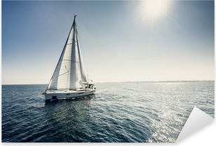 Sailing ship yachts with white sails Pixerstick Sticker