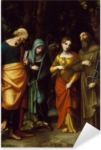 Saints Peter, Martha, Mary Magdalen, and Leonard Pixerstick Sticker