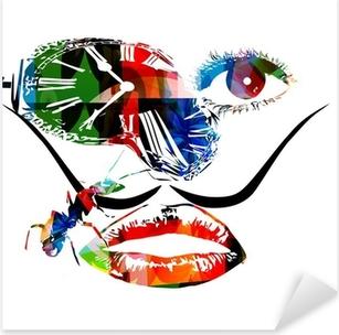 Salvador Dali inspired artwork vector Pixerstick Sticker