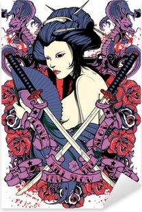 Samurai diva Pixerstick Sticker