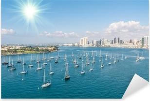 San Diego skyline and Waterfront Pixerstick Sticker