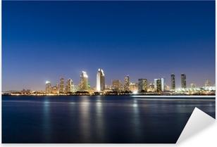 San Diego Skyline at Night Pixerstick Sticker