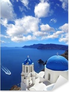 Santorini with Traditional Church in Oia, Greece Pixerstick Sticker