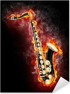 Saxophone in Flame Pixerstick Sticker