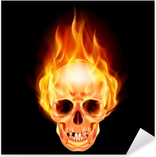 Scary skull on fire Pixerstick Sticker