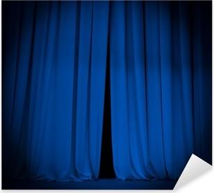 Sticker Pixerstick Scène de théâtre rideau bleu avec le projecteur de fond