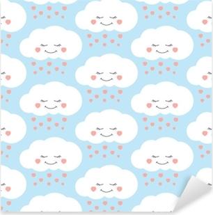 Pixerstick Sticker Schattige baby wolk patroon vector naadloos. kinderen drukken met wolken en harten regen op lila achtergrond. ontwerp voor kinderen verjaardagskaart, behang of stof, baby shower uitnodiging sjabloon.