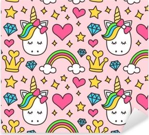 Pixerstick Sticker Schattige Eenhoorn, prinses concept, meisje schoonheid naadloze patroon geïsoleerd op roze achtergrond. vector cartoon ontwerp. magie, sprookje, hart, regenboog, kroon, sterren, diamant