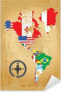 Pixerstick Sticker Schets kaarten van de landen in Noord-en Zuid-Amerika