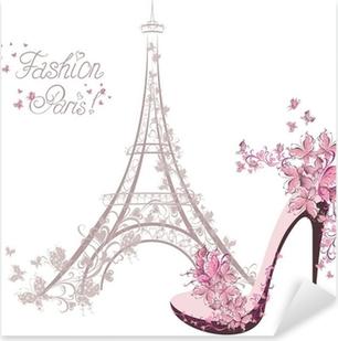 Pixerstick Sticker Schoenen met hoge hakken op de achtergrond van de Eiffeltoren. Paris Fashion