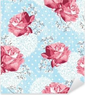 Sticker Pixerstick Seamless avec des fleurs fond floral avec des roses et