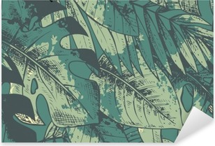 Sticker Pixerstick Seamless avec la main verte tirée des plantes tropicales