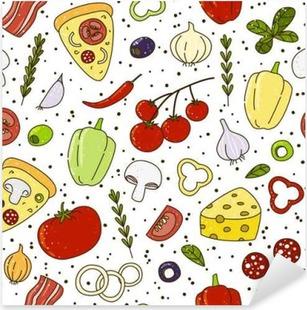 Sticker Pixerstick Seamless avec leurs ingrédients de pizza