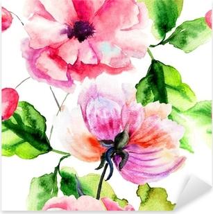 Sticker Pixerstick Seamless avec Pivoine et fleurs de pavot