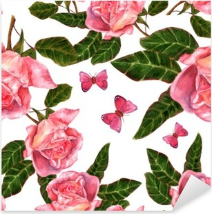 Seamless background pattern with vintage style watercolor roses Pixerstick Sticker